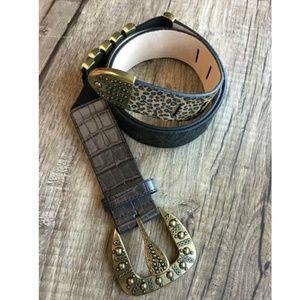 Chicos Leather Leopard Printed Boho Belt